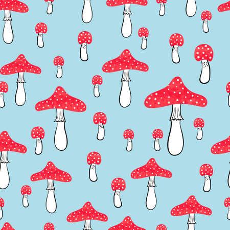 fly agaric: Cute seamless pattern with watercolor mushrooms. Fly agaric vector background.