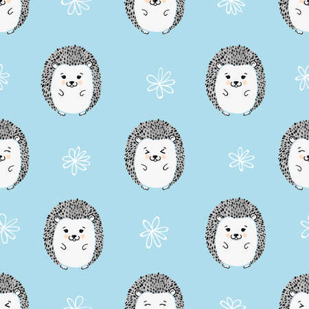 Seamless pattern with cute watercolor hedgehogs. Vector background for kids. 일러스트