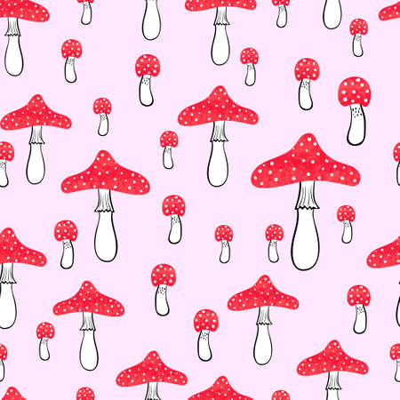fly agaric: Cute pink seamless pattern with watercolor mushrooms. Fly agaric vector background.