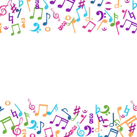 Hand drawn colorful notes ornament border isolated on white background. Vector music background.