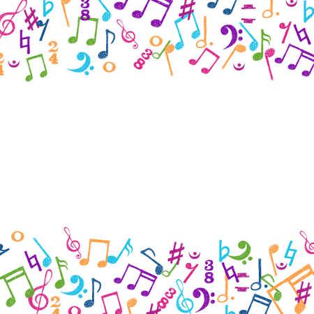 Hand gezeichnet bunte Notizen Ornament Grenze isoliert auf weißem Hintergrund. Vektor Musik Hintergrund. Standard-Bild - 69063623