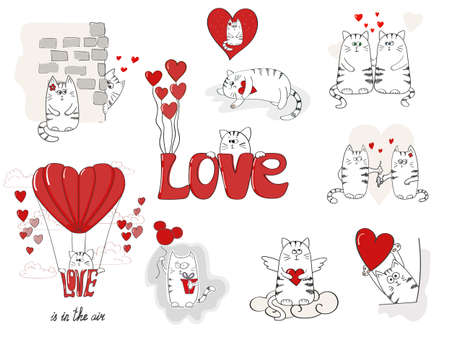 february 14th: Cute cats in love. Valentines day big set for your design. Collection of doodle vector illustrations.