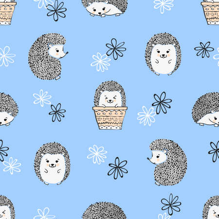 Seamless pattern with cute watercolor hedgehogs. Vector kids background.