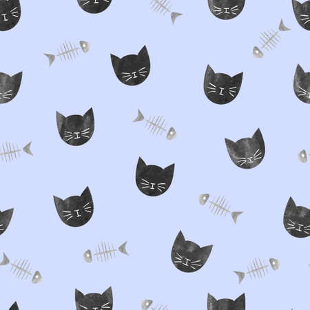 Black cats and fish bones seamless pattern.