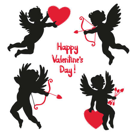 Set of cute angels. Silhouette of Cupids. Valentines day. Vector illustration. Illustration