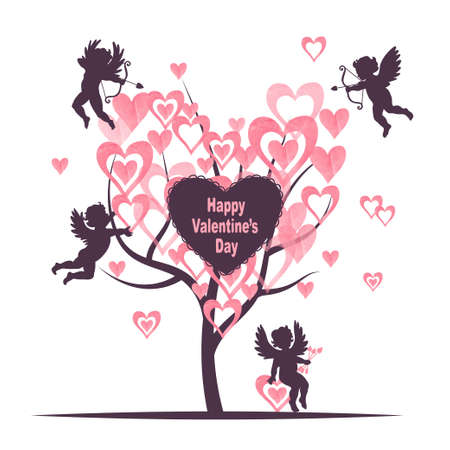Valentines Day card design with Love tree and cute cupids. Vector romantic illustration with angels. Illustration