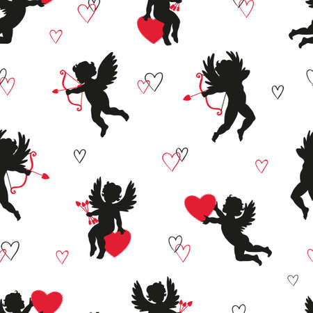 Cute Cupids seamless pattern. Vector Valentines background with angels silhouettes.