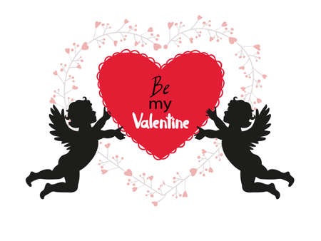 Valentines Day card design with cute Cupids. Vector romantic illustration. Illustration