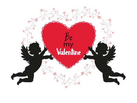 cherubs: Valentines Day card design with cute Cupids. Vector romantic illustration. Illustration