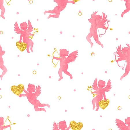 Seamless pattern with cute watercolor Cupids. Valentines Day vector design.