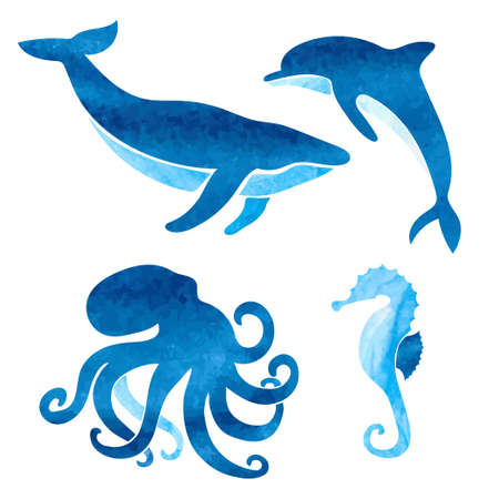 Watercolor sea animals set. Vector nautical illustration of whale dolphin octopus seahorse Illustration