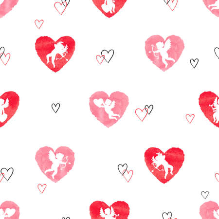 Seamless pattern with cute Cupids and watercolor hearts. Valentines Day vector design. Illustration