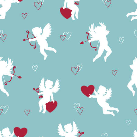 Seamless pattern with cute Cupids. Vector Valentines background with angels silhouettes.