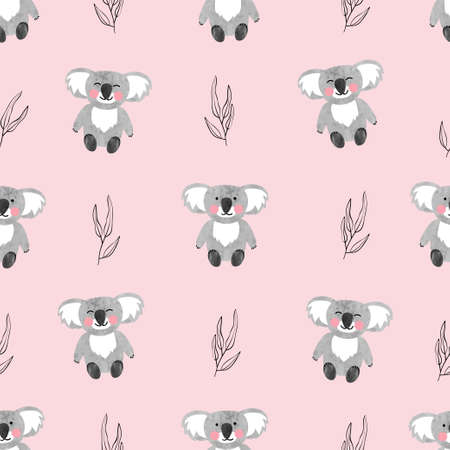 Seamless pattern with cute watercolor koala bears on pink. Vector background for kids.