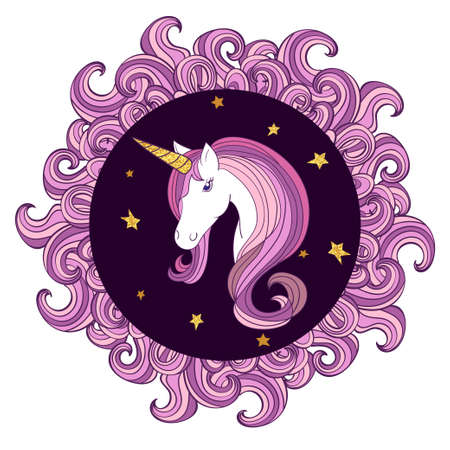 Beautiful unicorn vector illustration with circle waved frame.