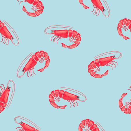 Seamless pattern with watercolor shrimps. Vector illustration. Illustration