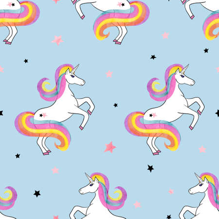 Seamless rainbow unicorns pattern. Vector magic illustration.