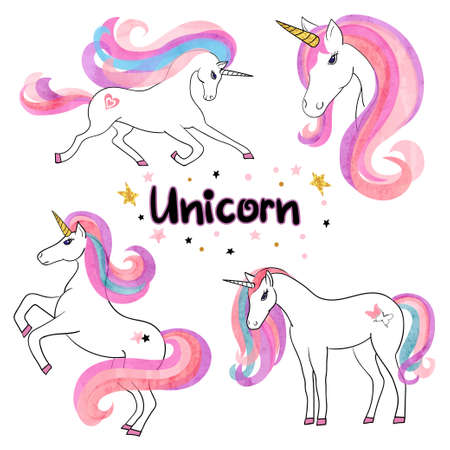 Beautiful watercolor unicorns set in pink and purple colors. Vector illustration.