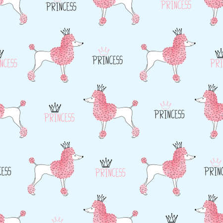 Little princess poodle pattern. Seamless vector background with cute dogs for kids design. 일러스트