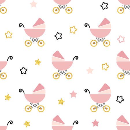Baby shower seamless pattern. Vector background with pink carriages and stars.