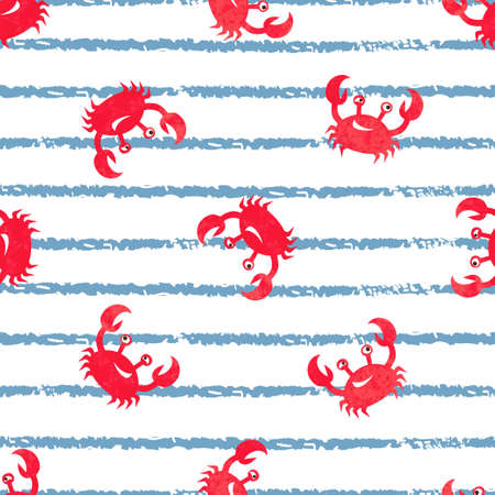 Striped seamless pattern with cute watercolor crabs. Vector marine background.