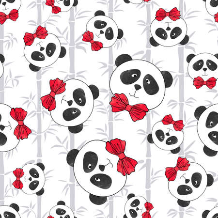 Seamless pattern with panda and bamboo. Vector illustration with cute cartoon watercolor bears. Иллюстрация