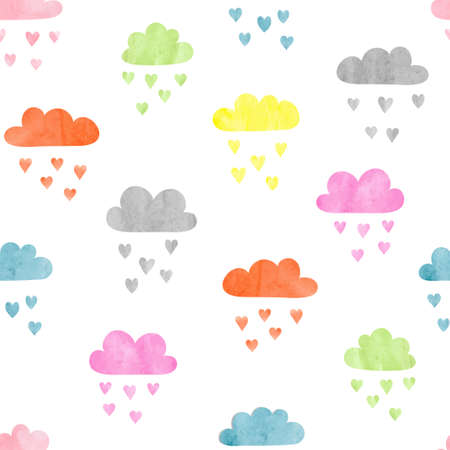 Seamless colorful watercolor clouds pattern. Rain of hearts. Vector illustration. Ilustração
