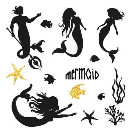 Set of black mermaid silhouettes isolated on white. Vector illustration.