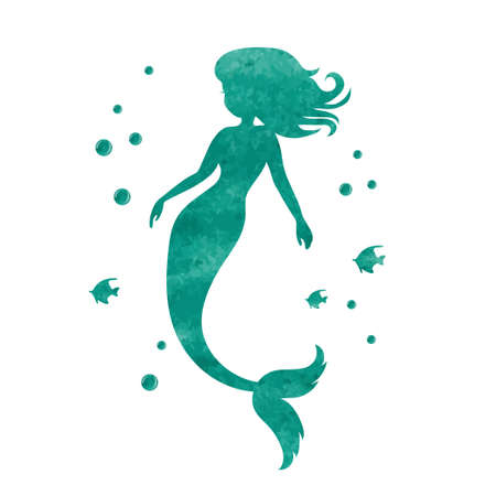Watercolor mermaid silhouette. Vector illustration. Stock Vector - 76654895
