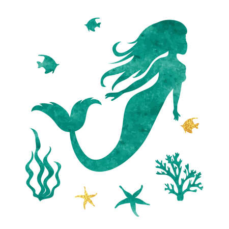 Silhouette della sirena dell'acquerello. Illustrazione marina vettoriale. Archivio Fotografico - 76654904