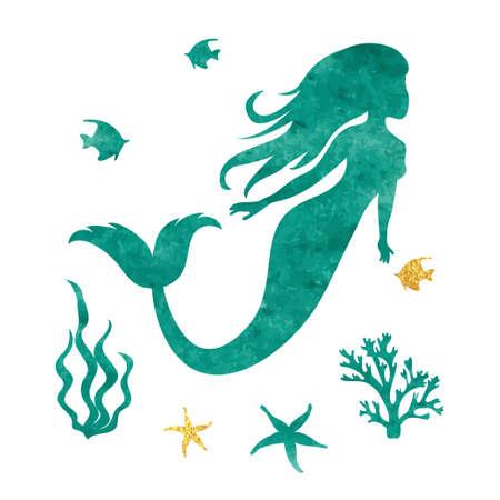 fish tail: Watercolor mermaid silhouette. Vector marine illustration.