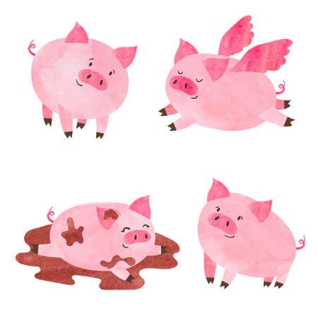 Conjunto de porcos bonitos em aquarela. Ilustração em vetor dos desenhos animados