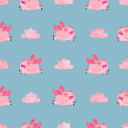 Cute watercolor flying pigs seamless pattern. Valentines day vector background. Stock Illustratie