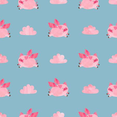 Nettes Aquarell fliegen Schweine nahtlose Muster. Valentinstag Vektor Hintergrund. Standard-Bild - 77151480