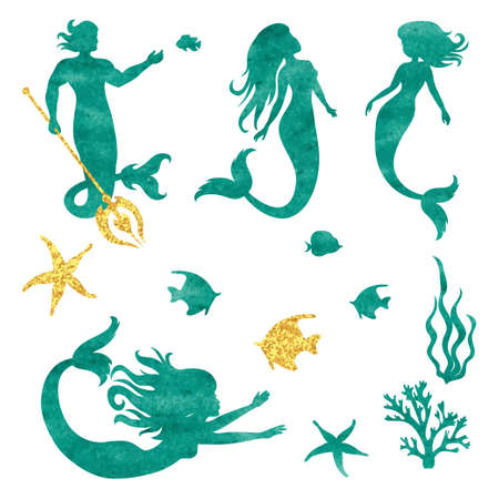 fish tail: Set of watercolor mermaid silhouettes isolated on white. Vector illustration.