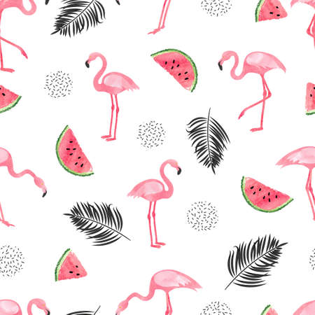 Seamless tropical trendy pattern with watercolor flamingos watermelon and palm leaves. Vector summer background. Illustration