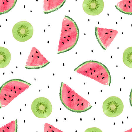 Seamless pattern with kiwi fruit and watermelon slices. Summer background.