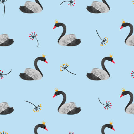 pattern: Seamless watercolor black swans pattern