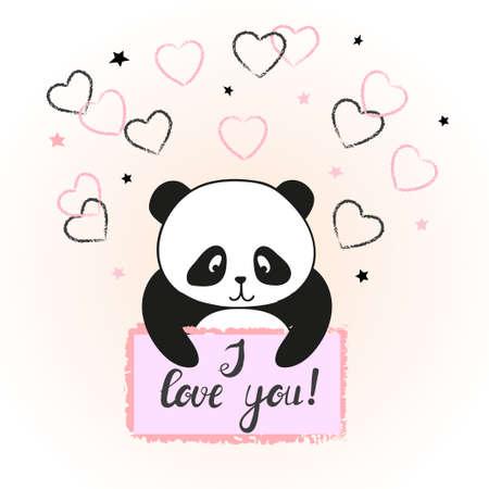 cute bear: Vector illustration of cute cartoon panda bear in love. Valentine card design.