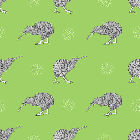 Seamless vector pattern with watercolor kiwi birds on green.