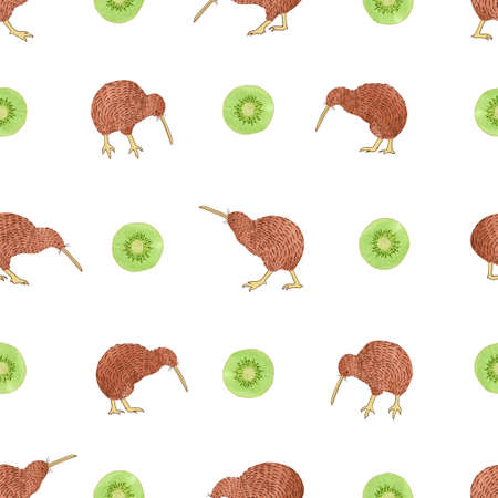 Seamless pattern with watercolor kiwi birds and kiwi fruit.