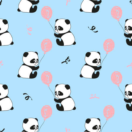 cute bear: Seamless pattern with cute panda bears and balloons. Vector kids background.
