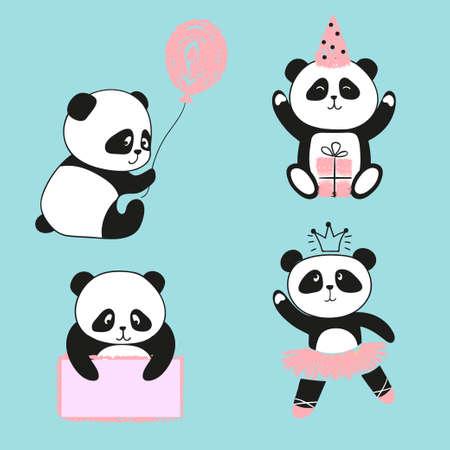 Ensemble de panda mignon. Illustration de dessin animé de vecteur