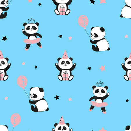 Seamless cute panda bears pattern. Vector blue background for kids design. Stock Illustratie