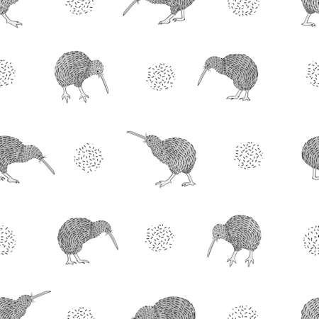 キウイ鳥のシームレスなパターン。黒と白のベクトルの背景。  イラスト・ベクター素材