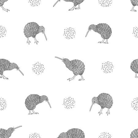 Seamless Kiwi birds pattern. Vector black and white background.