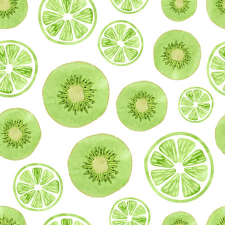 Seamless pattern with green kiwi and lime slices on white.Vector fruit background.