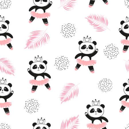Cute panda ballerinas seamless pattern. Vector background for kids design.