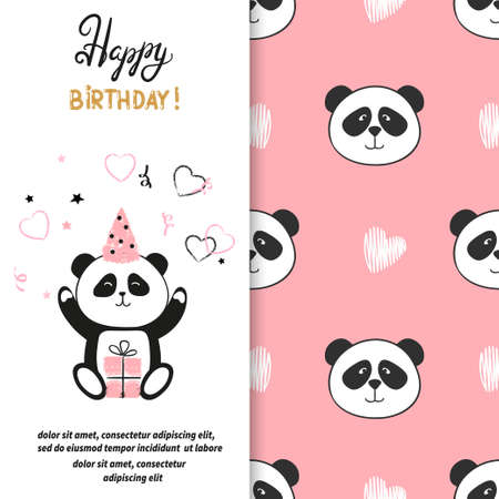 children party: Happy Birthday greeting card with cute panda bear. Vector illustration