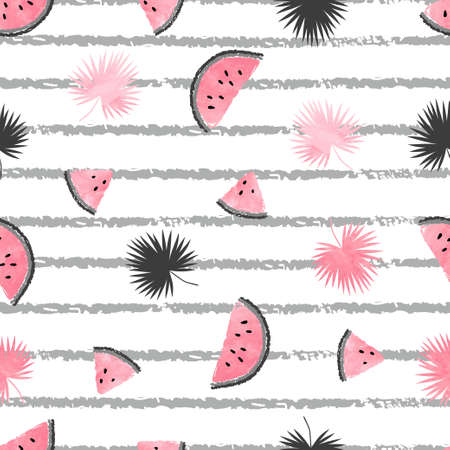 Summer pattern with pink and black watermelon slices and palm leaves. Vector seamless tropical background. Stock Illustratie